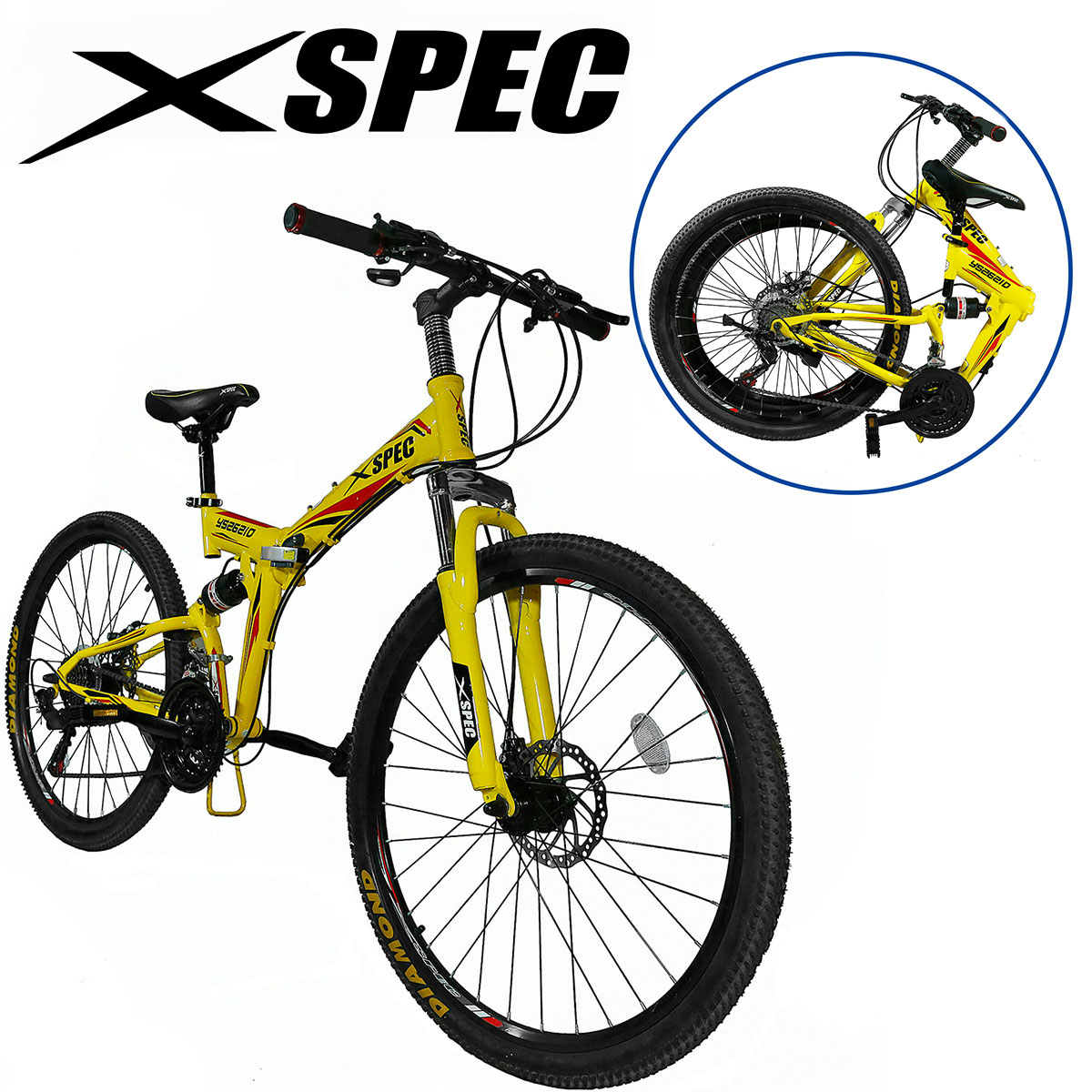 "Xspec 26"" 21 Speed Folding Mountain Bike Bicycle Trail Commuter Shimano, Black"