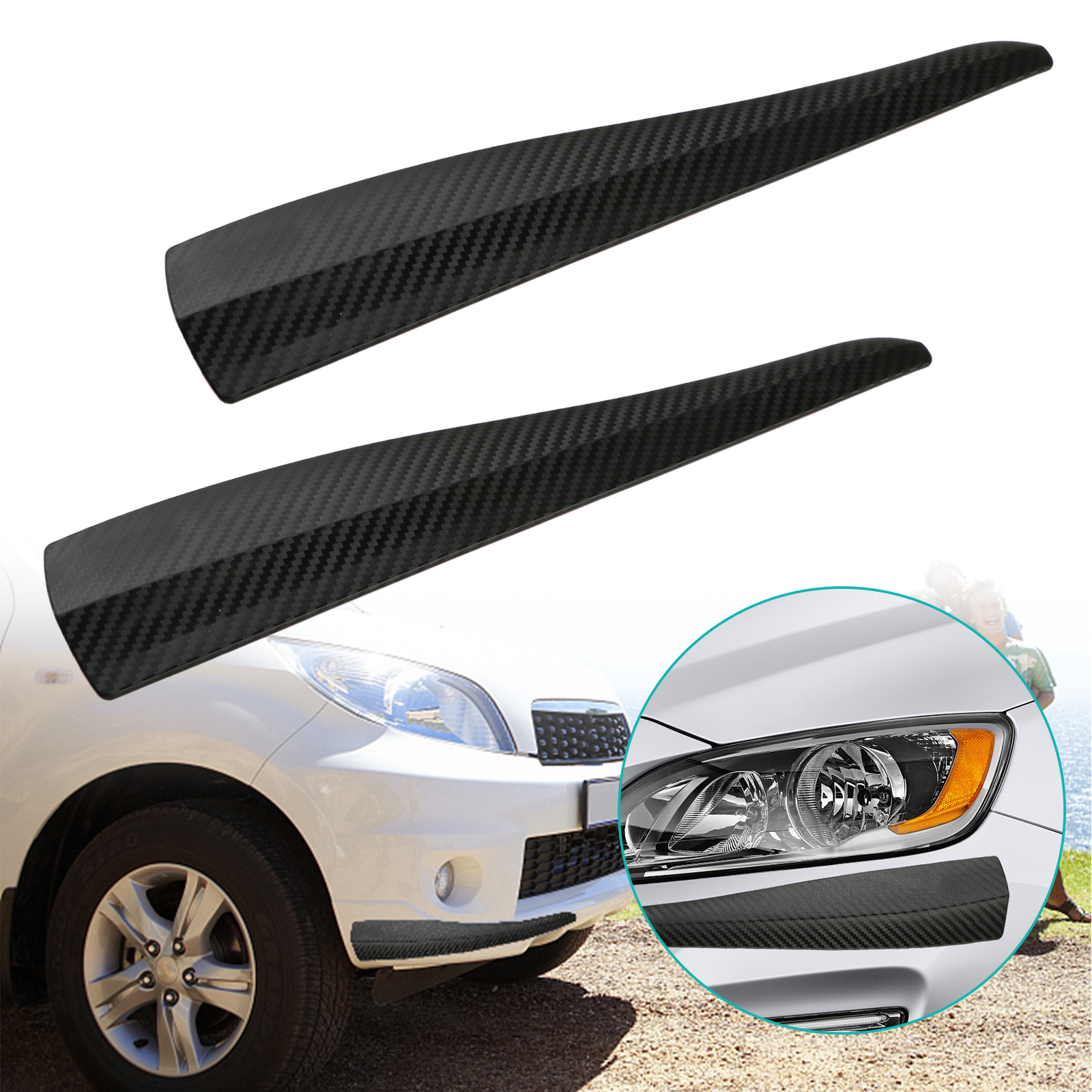 2-pack Front Rear Carbon Fiber Bumper Corner Lip Side Scratch Protector Strap Guard