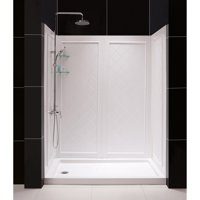 DreamLine 36 in. D x 60 in. W x 76 3/4 in. H Left Drain Acrylic Shower Base and QWALL-5 Backwall Kit In White