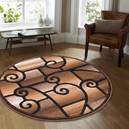 Allstar Black Round Abstract Modern Area Carpet Rug (4' 11