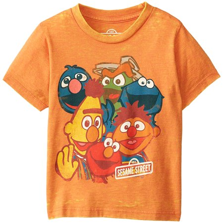 4t Tee - Sesame Street Little Boys' Line Crowd Burnout T-Shirt (4T)