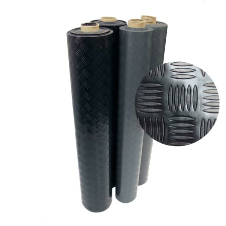 "Rubber-Cal ""Diamond-Grip"" Resilient Flooring Mat - 2mm x 4ft x 4ft Rubber Flooring Rolls - Black"