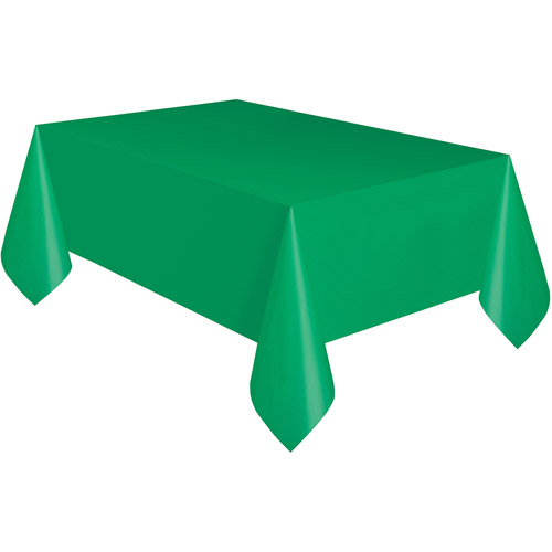 """Unique Team Spirit Solid Rectangle 108""""x54"""" Plastic Tablecover, Green"""