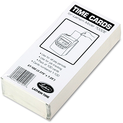 Lathem Time Time Card for Lathem Model 7000E, Numbered 1-100, Two-Sided, 100/Pack