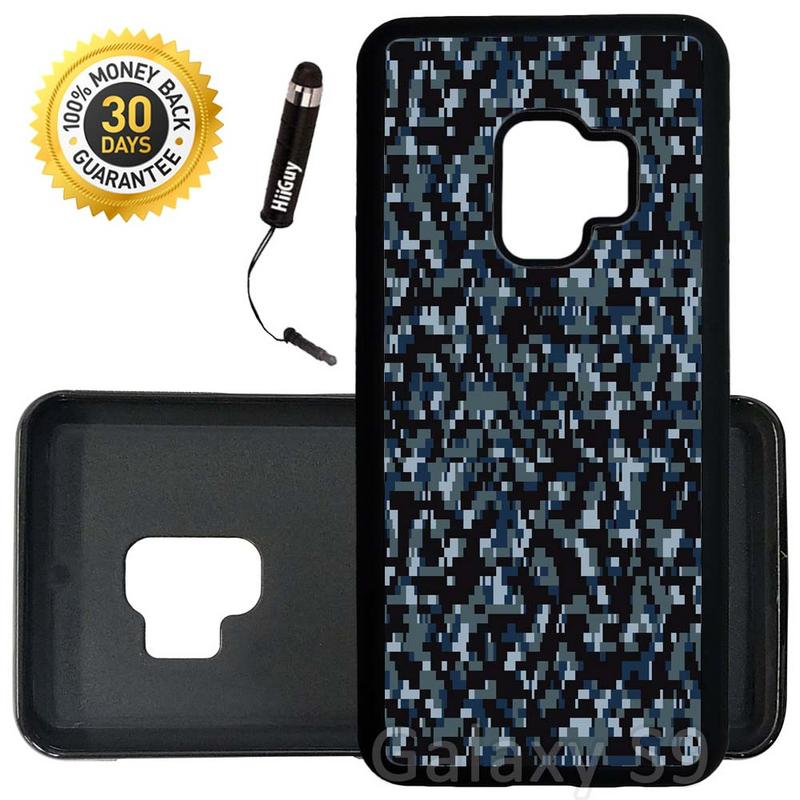 Custom Galaxy S9 Case (Navy Digital Camouflage) Edge-to-Edge Rubber Black Cover Ultra Slim | Lightweight | Includes Stylus Pen by Innosub