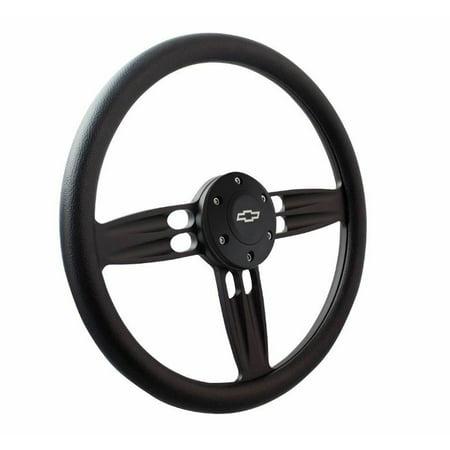 12 Inch Barrel Front - 14 Inch Matte Black Double Barrel Black 1/2 Wrap Chevy Horn Button 6-Hole Wheel