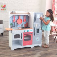 KidKraft Mosaic Magnetic Play Kitchen with 9 Piece Accessory Play Set - Coral
