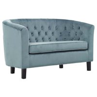 Modway Prospect Velvet Tufted Loveseat in Sea Blue and Espresso