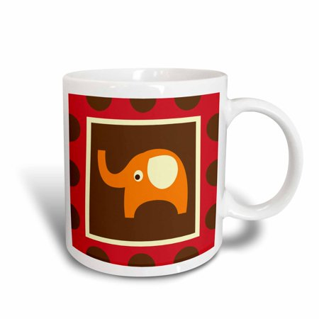 3dRose Cute Orange Elephant - Childrens Art - Adorable Animals, Ceramic Mug, 11-ounce