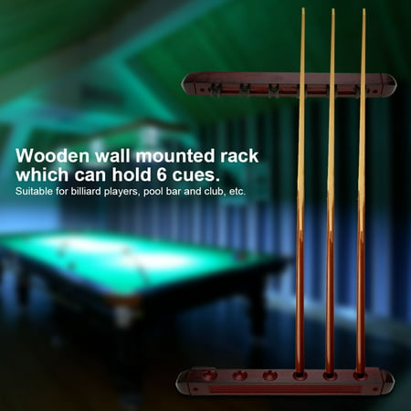 Wooden Billiard Pool Cue Rack Wall Mounted Rack Stick Holder