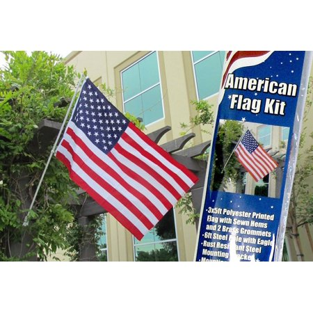American Flag and Flag Pole Kit New United States Banner USA Pennant 3x5