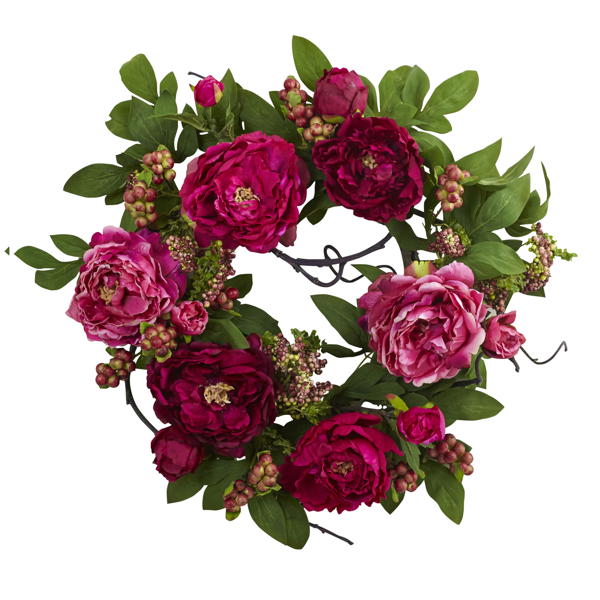 Nearly Natural 20 ft. ft. Peony & Berry Wreath