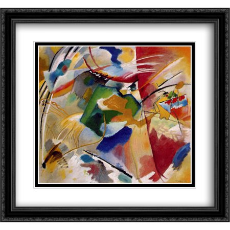 Wassily Kandinsky Artwork - Painting with green center 2x Matted 30x28 Large Black Ornate Framed Art Print by Wassily Kandinsky