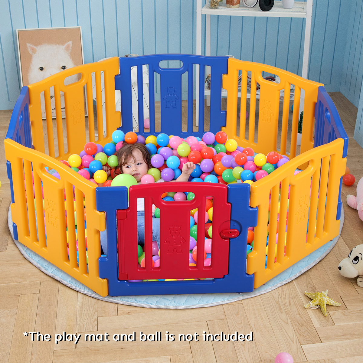Jaxpety Baby Playpen 8 Panel Kids Safety Play Center Yard Home Foldable High PE Frame Play Pens Indoor Outdoor by JAXPETY
