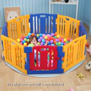 JAXPETY Baby Playpen 8 Panel Kids Safety Play Center Yard Home Foldable High