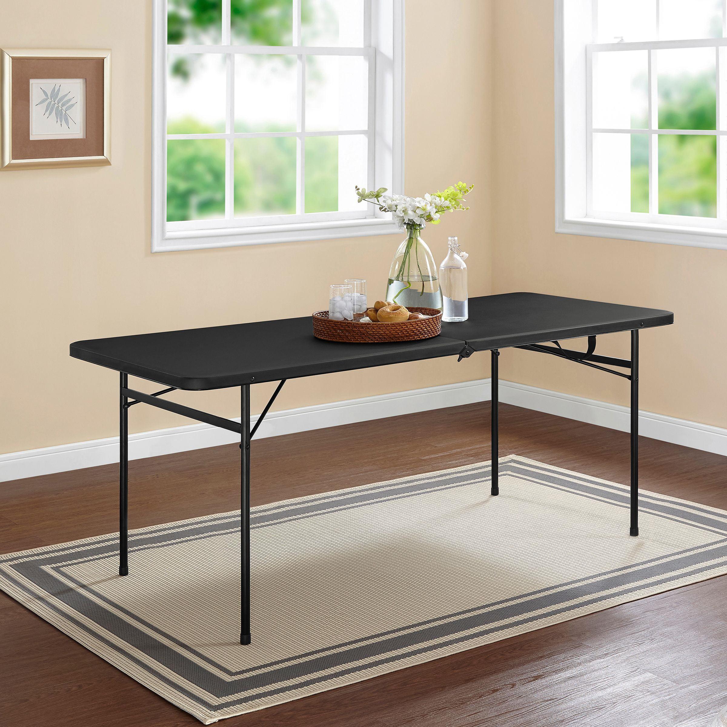 Mainstays 6 Foot Bi Fold Plastic Folding Table Black Walmart Com Walmart Com