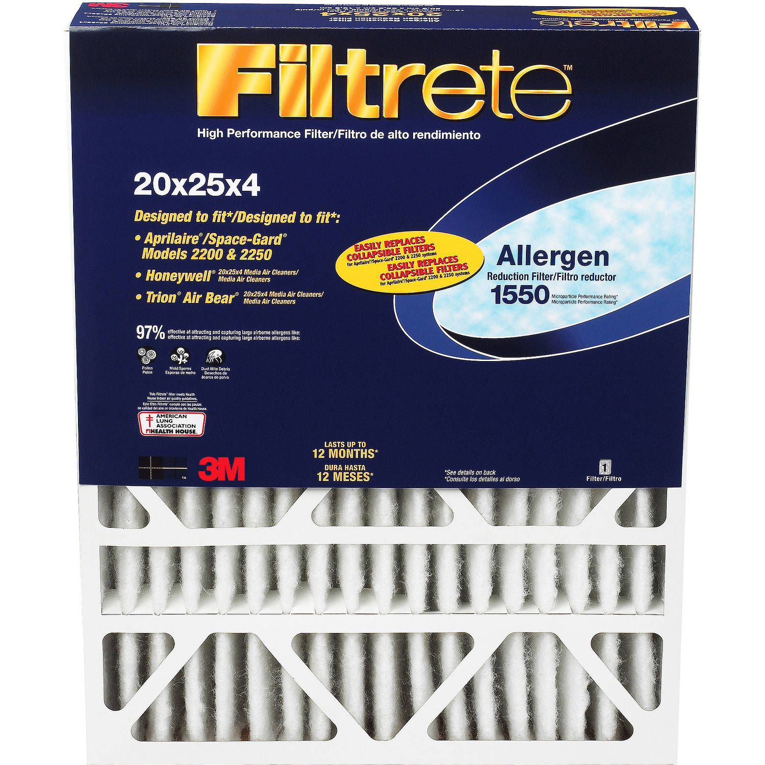"Filtrete 1550 Deep Pleat Reduction Filter, 16"" x 25"" x 4"", 1pk"