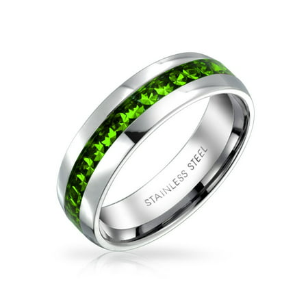 Birth Month Color Channel Set Crystal Eternity Band Ring For Women For Men For Teen Silver Toned Stainless Steel ()