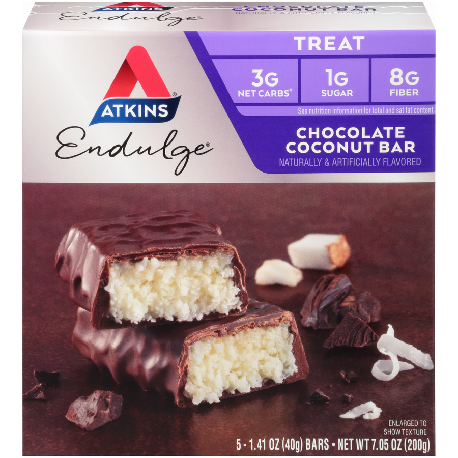 Atkins Endulge Chocolate Coconut Bar, 1.4oz, 5-pack (Treat)
