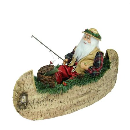 """18.5"""" Rustic Lodge Fishing Santa Claus in a Canoe Christmas Tabletop Decoration"""