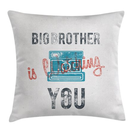 Icon Analogue Watch - Vintage Decor Throw Pillow Cushion Cover, Half Toned Big Brother Quote with Old-Fashion Analogue Camera Icon Web Print, Decorative Square Accent Pillow Case, 16 X 16 Inches, Blue Grey, by Ambesonne