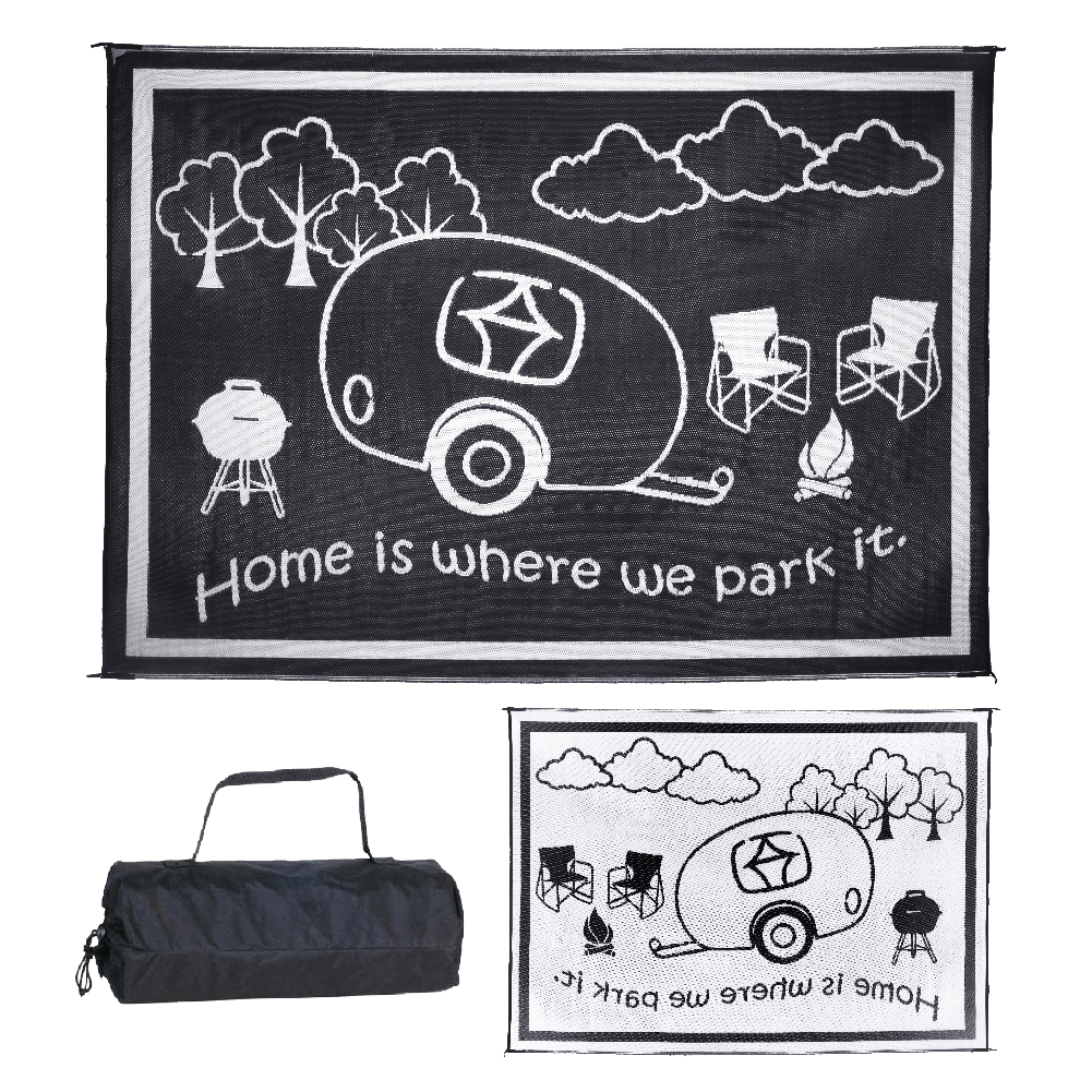 """Ming's Mark 8' x 11' RV Home Outdoor Mat, """"Home is Where We Park It"""", Brown / Beige (RH8117)"""