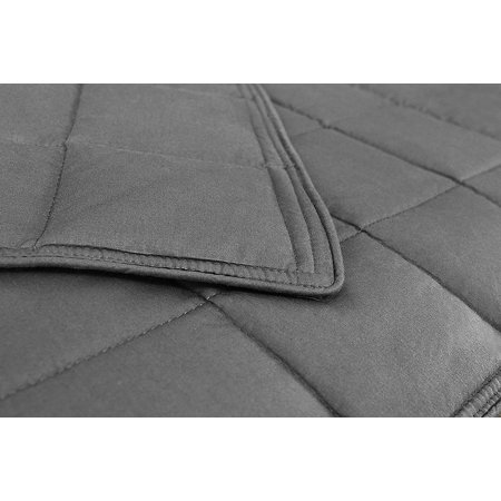 "AckBrands 48"" x 78"" 15 Lb Premium Cotton Weighted Blanket in Slate Gray"