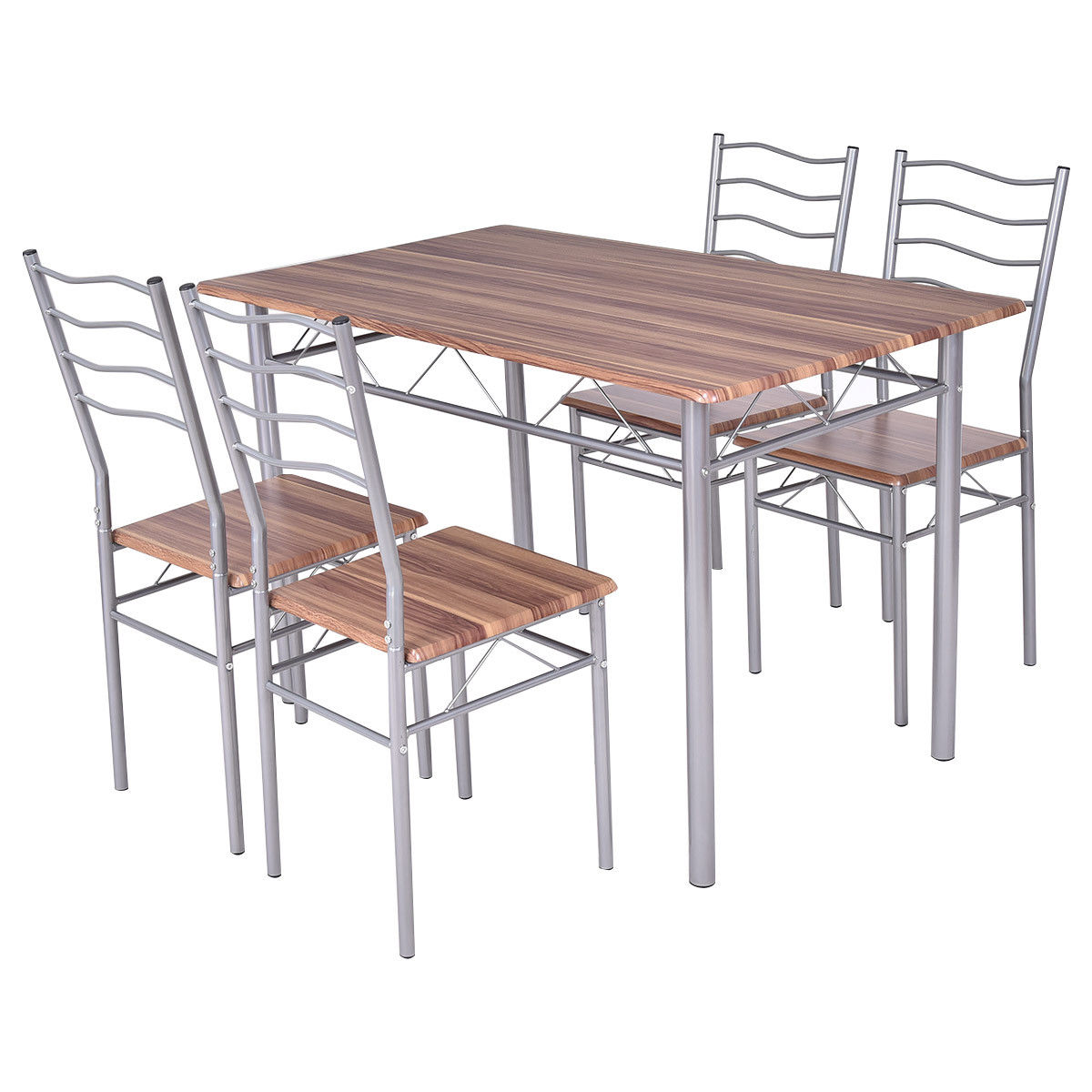 Costway 5 Piece Dining Set Wood Metal Table and 4 Chairs Kitchen Modern Furniture