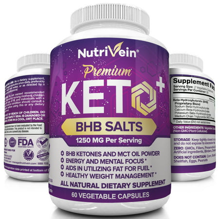 - Nutrivein Keto Diet Pills 1250mg - Advanced Ketogenic Diet Weight Loss Supplement - BHB Salts Exogenous Ketones Capsules - Effective Ketosis Diet Fat Burner, Carb Blocker, Appetite Suppressant, 60 Ct
