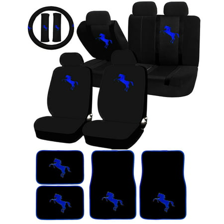 22 Piece Blue Pony horse Mustang Universal Seat Covers & Carpet Floor Mats Set Car Truck SUV