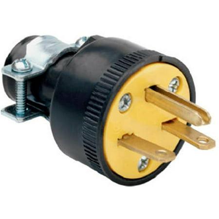 1711CC10 15A 250V Heavy Duty Rubber Construction Plug, (250v Black Nylon Locking Plug)