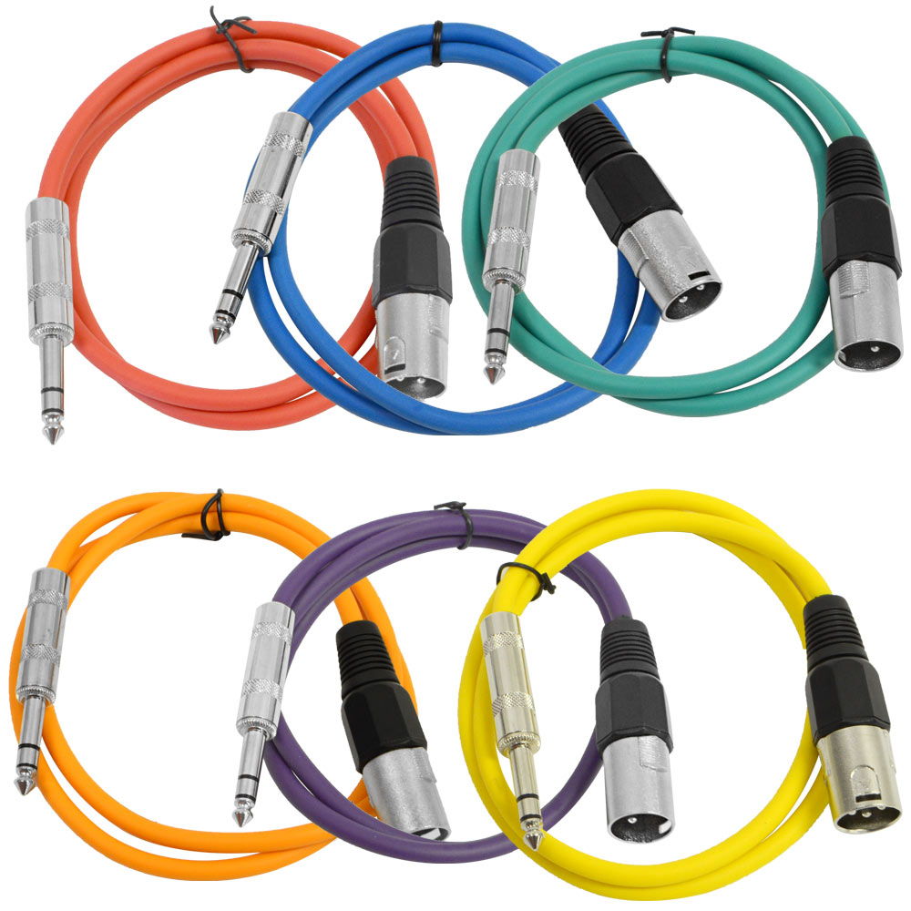 """Seismic Audio SEISMIC 6 PACK Color 1 4"""" TRS XLR Male 3' Patch Cables Multi-Colors... by Seismic Audio"""