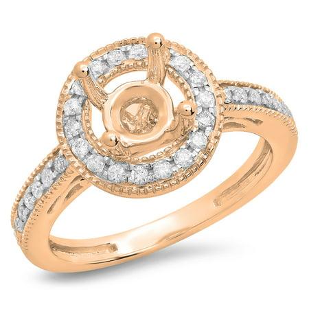 0.35 Carat (ctw) 14K Rose Gold Round White Diamond Ladies Bridal Semi Mount Engagement Ring 1/3 CT (No Center
