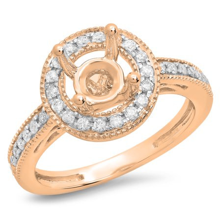 0.35 Carat (ctw) 14K Rose Gold Round White Diamond Ladies Bridal Semi Mount Engagement Ring 1/3 CT (No Center Stone)