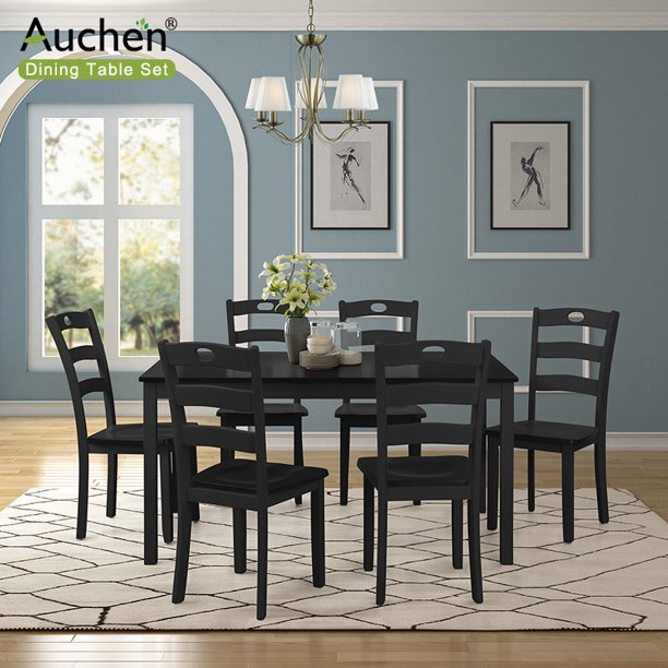 Auchen 7 Pieces Dining Table Set Dining Room Set For 6 Person Kitchen Wood Table And