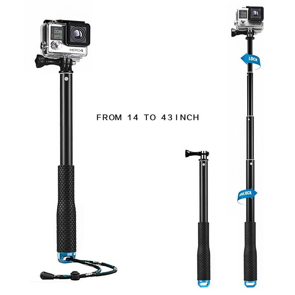 mystery waterproof gopro handle grip extendable selfie stick telescoping monopod tripod self timer for gopro hero sjcam xiaomi yi action cameras and many other same mount cameras (14-43 inch) (blue)