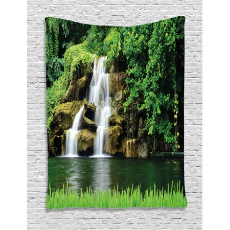 Waterfall Tapestry, Double Waterfalls Flow to Natural Green Lake with Bushes and Grass like Garden Print, Wall Hanging for Bedroom Living Room Dorm Decor, Green, by Ambesonne