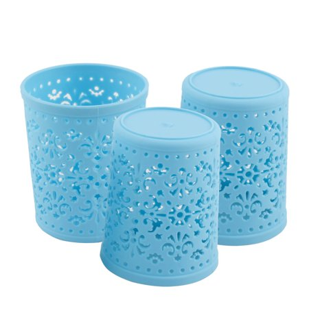Home Plastic Cylinder Hollow Out Sundries Holder Storage Basket Box Blue 3 (Plastic Cylinder)