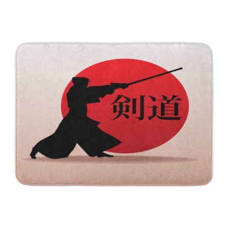 KDAGR Kendo Fighter in Traditional Silhouette Samurai Inscription on is Doormat Floor Rug Bath Mat 30x18 inch