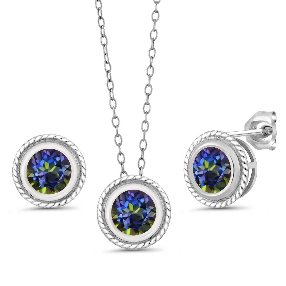 "2.40 Ct Round Mystic Topaz Gemstone 925 Silver Pendant Earrings Set 18"" Chain"