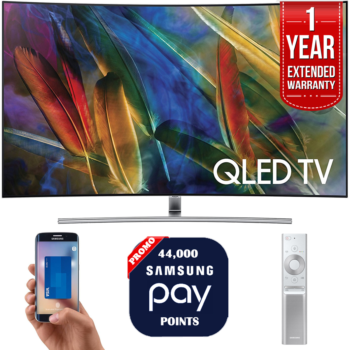 "Samsung QN55Q7C 55"" 4K UHD Smart QLED TV + 1 Year Extended Warranty + 44,000 Pay Points"