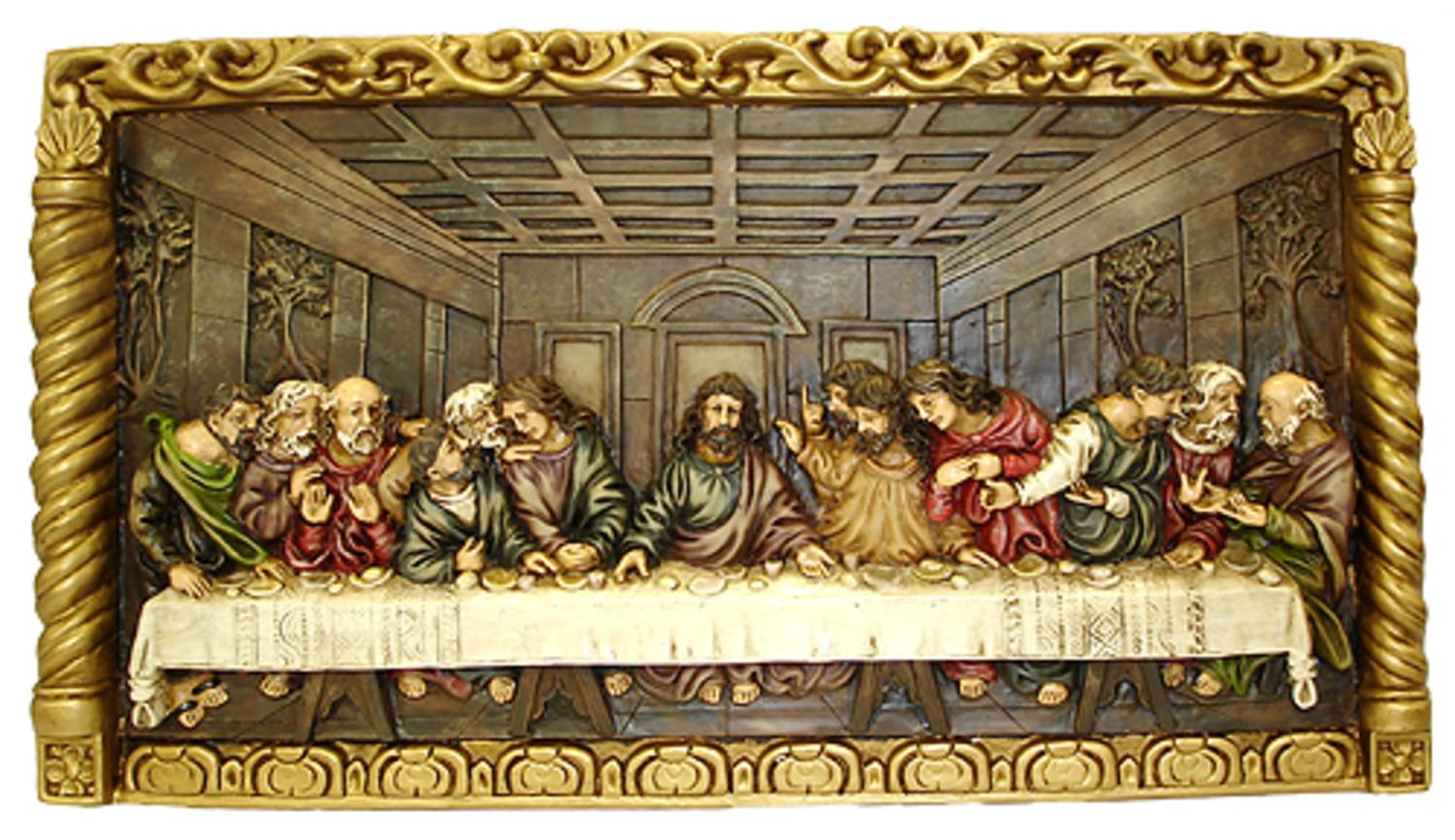 "22"" Inspirational Hand-Painted Jesus ""The Last Supper"" Religious Wall Plaque by Roman"
