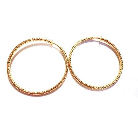 Clip On Earrings 1 25 Inch Hoop Gold Tone Texture Hoops Hypoallergenic