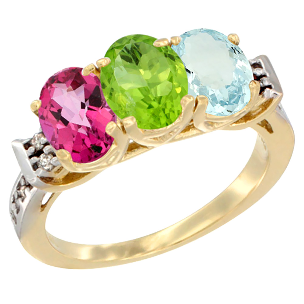 10K Yellow Gold Natural Pink Topaz, Peridot & Aquamarine Ring 3-Stone Oval 7x5 mm Diamond Accent, sizes 5 10 by WorldJewels