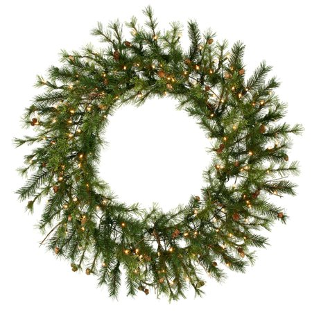 60 Pre Lit Mixed Country Pine Commercial Christmas Wreath Clear