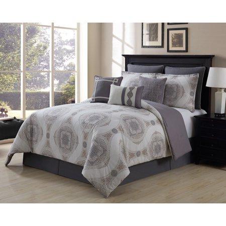 9 Piece Sloan Taupe/Gray 100% Cotton Comforter Set 100% Cotton Comforter Set