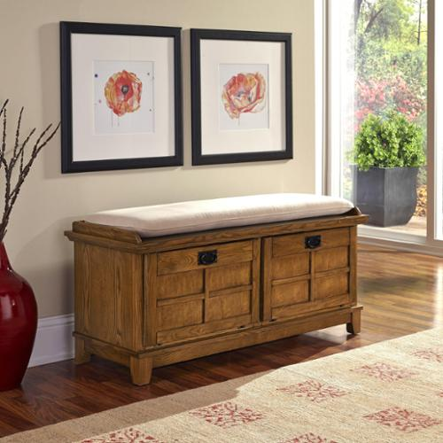 Home Styles Arts and Crafts Upholstered Bench Cottage oak