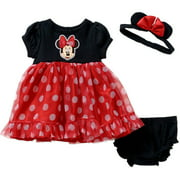 Minnie Mouse Newborn Baby Girl Dress, Panty, & Headband 3-Piece Set