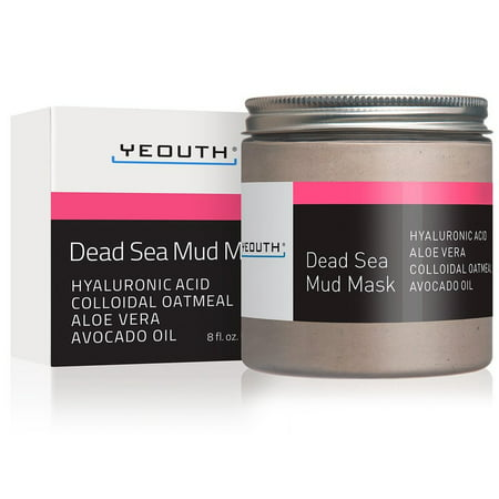 YEOUTH Dead Sea Mud Face Mask with Hyaluronic Acid, Aloe, Oatmeal, and Avocado, Minimizes Pores, Reduces Wrinkles, Clears Blackheads, Acne and Helps Oily Skin, Rejuvenates 8oz (Aloe Vera Face Mask For Dry Skin)
