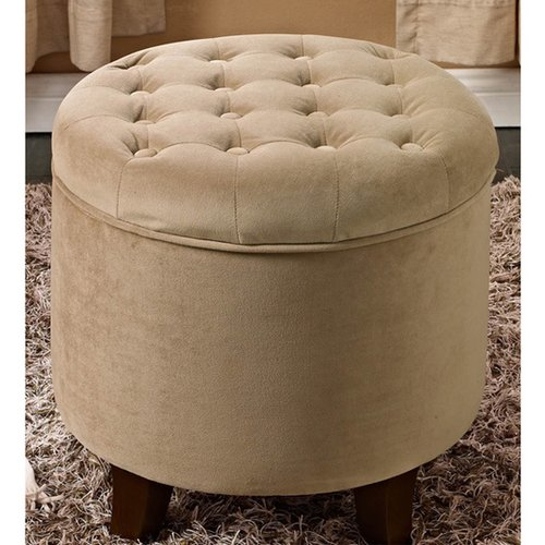 HomePop Velvet Tufted Round Ottoman with Storage